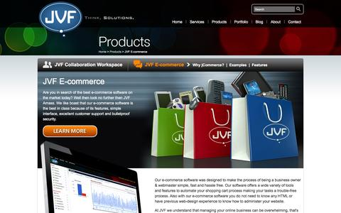 Screenshot of Products Page jvfconsulting.com - JVF E-commerce |  | E-commerce Software & Collaboration Workspace Products - captured Feb. 8, 2016