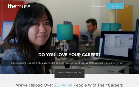 Screenshot of Home Page themuse.com - Free Career Advice | Career Finder - captured Oct. 7, 2015