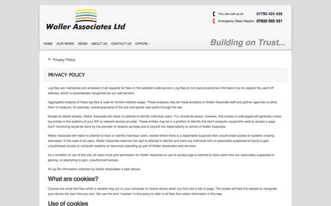 Screenshot of Privacy Page wallerservices.com - Privacy Policy - captured Oct. 27, 2014