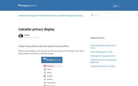 Screenshot of Support Page simplepractice.com - Calendar privacy display – SimplePractice Support - captured Aug. 11, 2018