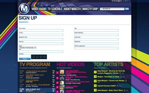 Screenshot of Signup Page makstv.tv - Sign up | Registration | MaksTV � TV in USA - captured Sept. 30, 2014