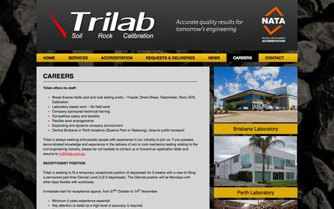 Screenshot of Jobs Page trilab.com.au - Trilab - Careers - Trilab - captured Oct. 8, 2014