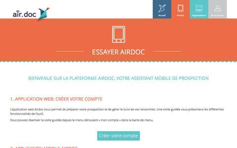 Screenshot of Signup Page airdocsolutions.com - Essayer Airdoc - Créer votre compte - captured July 25, 2016