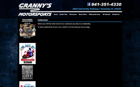 Screenshot of Testimonials Page grannysmotorsports.com - Granny's Motorsports Sarasota, Florida  Motorcycles Scooters ATV's Yamaha Vectrix Kawasaki Dealer Suzuki  Watercraft Generators Utility-vehicle - captured June 24, 2016