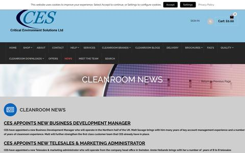 Screenshot of Press Page criticalenvironmentsolutions.co.uk - Cleanroom News, Cleanroom Technology, Cleanroom Services - captured Sept. 30, 2018
