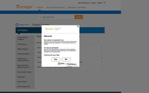 Screenshot of Contact Page vonage.com - Contact Vonage Support - captured Oct. 29, 2015