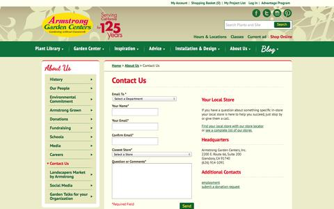 Screenshot of Contact Page armstronggarden.com - About Armstrong Garden Centers / Contact Us | Armstrong Garden Centers / Armstrong Garden Centers - captured Sept. 19, 2014