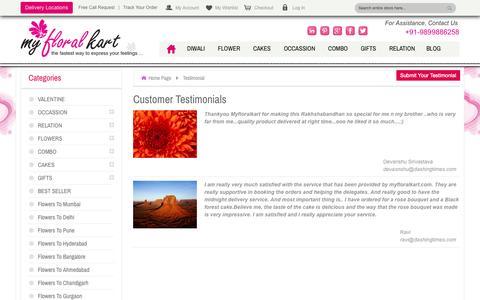 Screenshot of Testimonials Page myfloralkart.com - Testimonial - captured Oct. 26, 2014