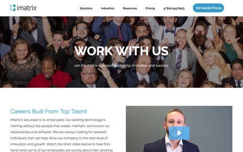 Screenshot of Jobs Page imatrix.com - Careers | iMatrix - captured Sept. 20, 2018
