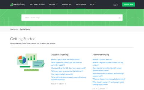 Getting Started – Wealthfront Support