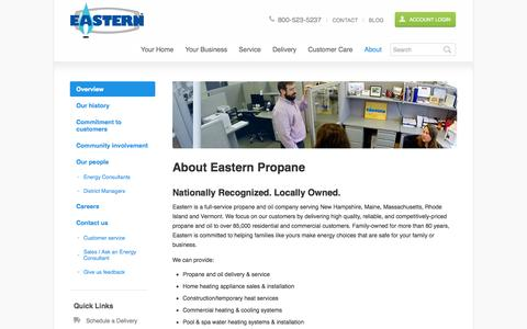 Screenshot of About Page eastern.com - Propane Gas Company | Propane Gas Companies | Propane Companies | Eastern Propane - captured Oct. 1, 2014