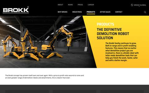 Screenshot of Products Page brokk.com - Products Archive - Brokk Global - captured Oct. 6, 2018