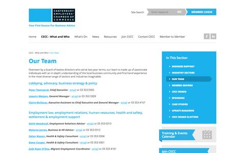 Screenshot of Team Page cecc.org.nz - CECC Team | Business Advice & Training » Canterbury Employers' Chamber of Commerce - captured Oct. 1, 2014