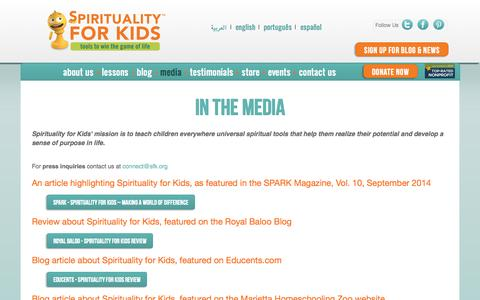 Screenshot of Press Page spiritualityforkids.com - In the Media | Spirituality for Kids - captured Oct. 7, 2014