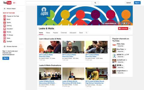 Screenshot of YouTube Page youtube.com - Leake & Watts  - YouTube - captured Nov. 1, 2014