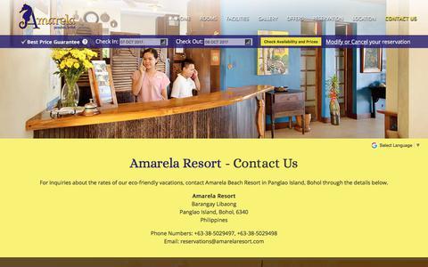 Screenshot of Contact Page amarelaresort.com - Amarela Beach Resort | Contact Info - captured Oct. 8, 2017