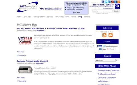 Screenshot of Blog matsolutions.com - Electrical Test Equipment Calibration Services | Used Laboratory Equipment Sales | MATsolutions - captured Sept. 30, 2014