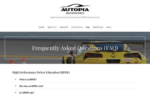 Screenshot of FAQ Page autopiamotorsports.com - Frequently Asked Questions (FAQ) - captured Nov. 21, 2016