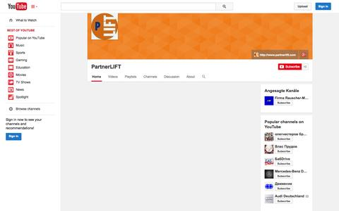 Screenshot of YouTube Page youtube.com - PartnerLIFT  - YouTube - captured Oct. 28, 2014