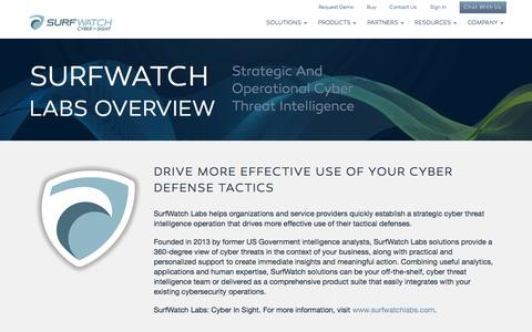 Screenshot of About Page surfwatchlabs.com - Cyber Threat & Risk Intelligence Management Team | SurfWatch Labs - captured Feb. 24, 2016