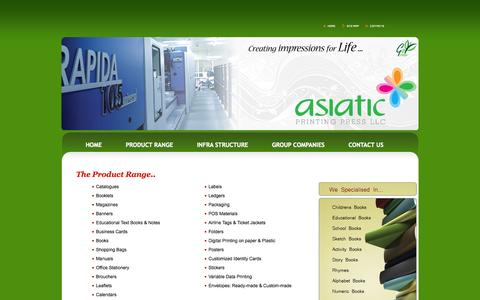 Screenshot of Products Page asiaticpress.com - Asiatic | Product Range - captured Oct. 4, 2014