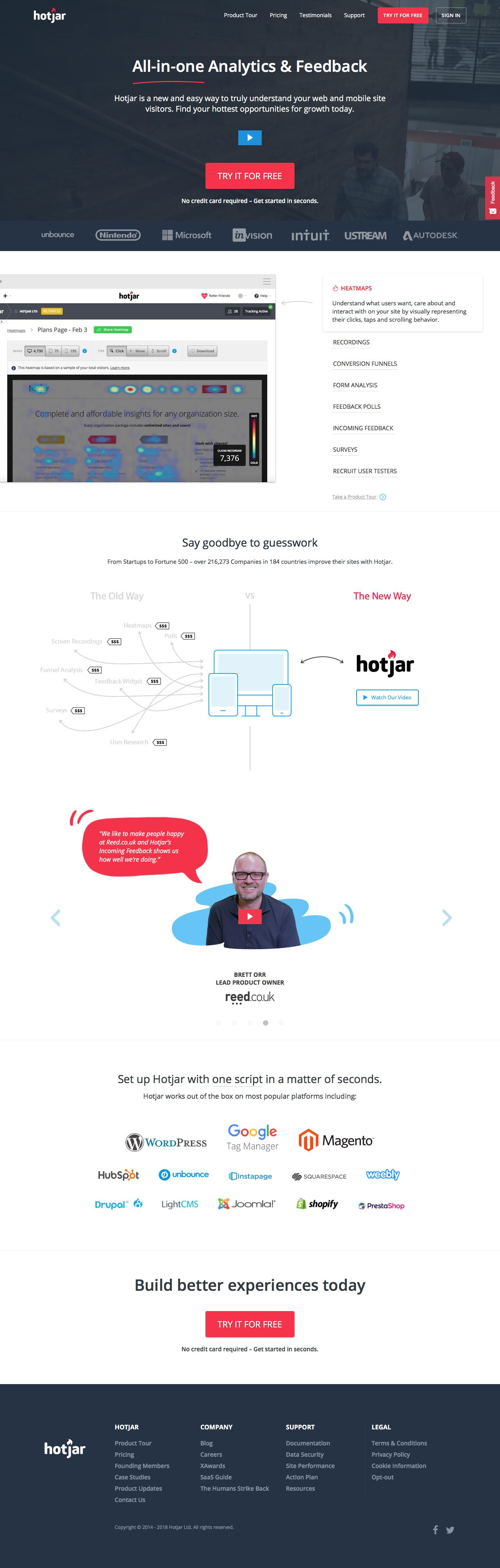 Screenshot of hotjar.com - Hotjar - Heatmaps, Visitor Recordings, Conversion Funnels, Form Analytics, Feedback Polls and Surveys in One Platform - captured March 28, 2018