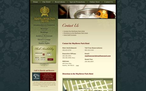 Screenshot of Maps & Directions Page mayflowerpark.com - Contact Mayflower Park Hotel Downtown Seattle - captured Oct. 27, 2014