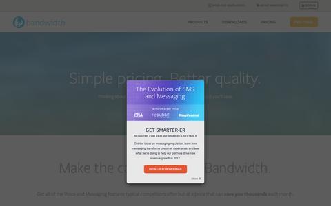 Screenshot of Pricing Page bandwidth.com - Pricing - Bandwidth.com - captured Jan. 18, 2017