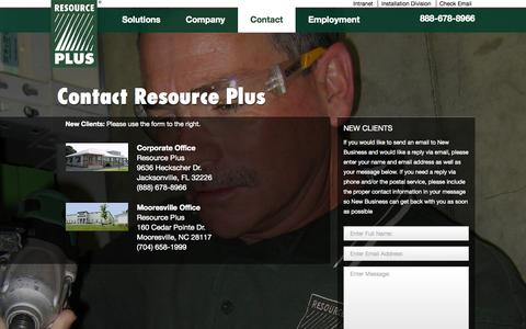 Screenshot of Contact Page resourcep.com - Contact Us | Resource PlusResource Plus - captured Oct. 6, 2014