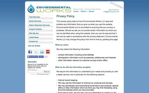Screenshot of Privacy Page eworksnw.com - Privacy Policy - Environmental Works - Environmental Works - captured Oct. 2, 2014