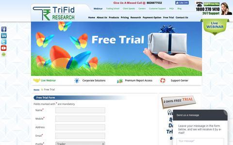 Screenshot of Trial Page trifidresearch.com - Free Trial – Equity, Commodity, Forex Market - captured Nov. 16, 2018