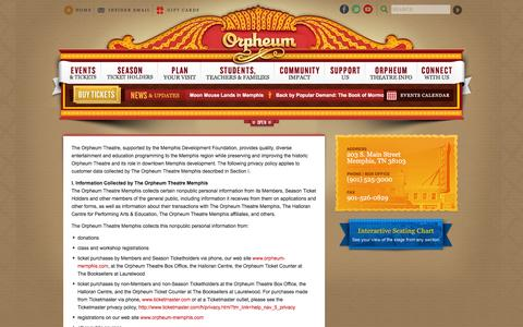Screenshot of Privacy Page orpheum-memphis.com - The Official Website of The Orpheum Theatre Memphis :: Privacy Policy - captured Jan. 20, 2016