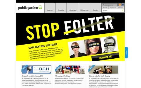 Screenshot of Home Page publicgarden.de - Designagentur publicgarden, Berlin –Agentur für Kommunikation  |Strategie |Corporate Design | Web-Entwicklung - captured Oct. 3, 2014