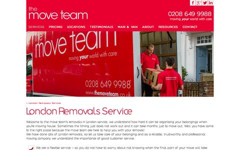 Screenshot of themoveteam.co.uk - London Removals Service & Storage | the move team - captured Aug. 4, 2015