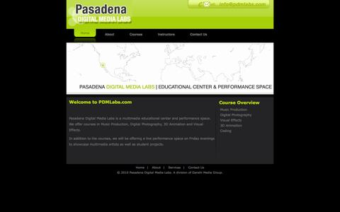 Screenshot of Home Page Services Page pdmlabs.com - ::| PASADENA DIGITAL MEDIA LABS |:: - captured Oct. 1, 2014