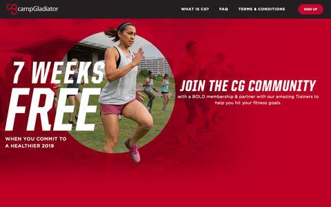 Screenshot of Signup Page campgladiator.com - Camp Gladiator - 7 Weeks Free - captured Nov. 10, 2018