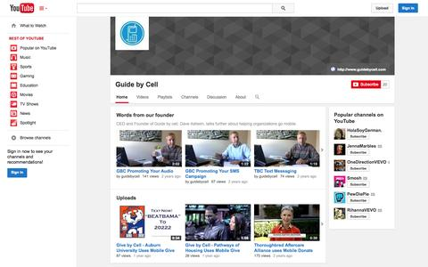 Screenshot of YouTube Page youtube.com - Guide by Cell  - YouTube - captured Oct. 22, 2014