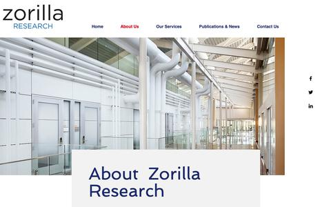 Screenshot of About Page zorillaresearch.com - About Zorilla Research - captured Oct. 20, 2018