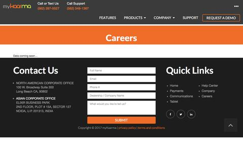 Screenshot of Jobs Page mykaarma.com - Careers | myKaarma - captured Oct. 16, 2017