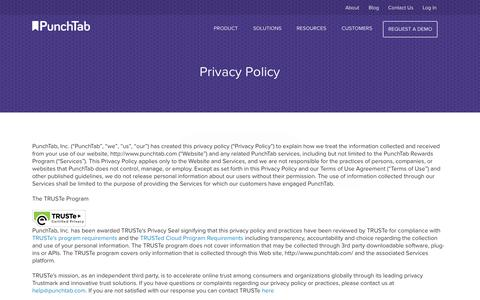 Screenshot of Privacy Page punchtab.com - PunchTab, Omni-channel White Label Loyalty and Engagement Programs for Brands, Agencies and Enterprise - captured Oct. 28, 2014