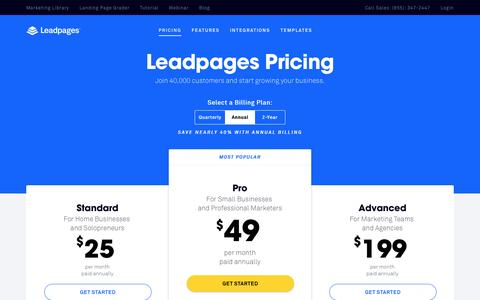 Screenshot of Pricing Page leadpages.net - Leadpages® Pricing - Choose a Plan That's Right for You - captured March 31, 2016