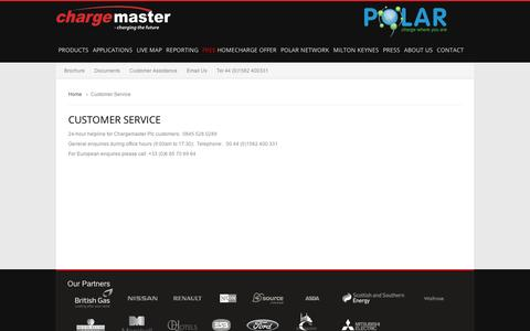 Screenshot of Support Page chargemasterplc.com - Customer Service - captured Sept. 12, 2014