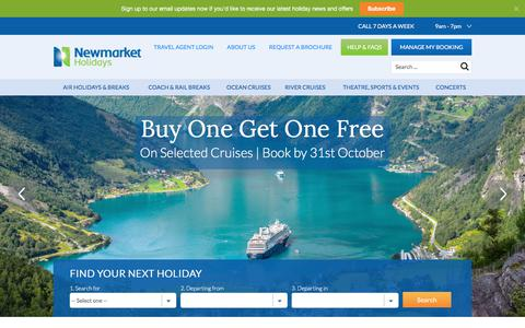 Screenshot of Home Page newmarketholidays.co.uk - Coach Trips, Tours and Air Travel Holidays | Newmarket Holidays - captured Oct. 11, 2017