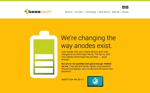 Screenshot of Home Page About Page Team Page bess-tech.com - Bess-Tech | We're changing the way anodes exist. - captured Oct. 5, 2014