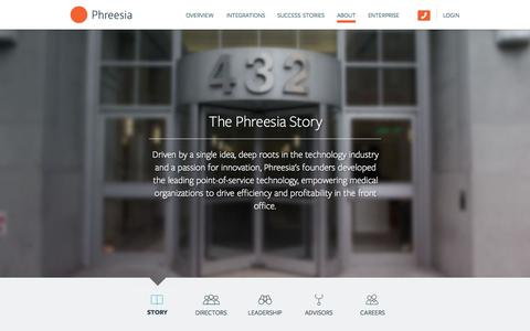 Screenshot of About Page phreesia.com - About: Story — Phreesia.com - captured June 17, 2015