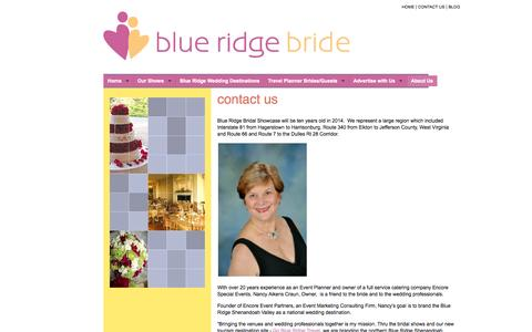 Screenshot of About Page Contact Page blueridgebridalshow.com - Blue Ridge Bridal Showcase - Contact Us - captured Oct. 23, 2014