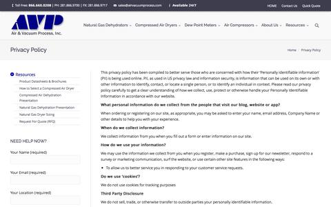 Screenshot of Privacy Page airvacuumprocess.com - AVP | Privacy Policy - - captured Nov. 2, 2014