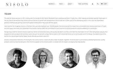Screenshot of Team Page nisolo.com - Team                           | Nisolo - captured Sept. 19, 2014