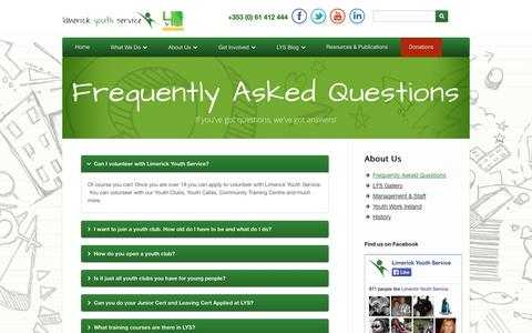 Screenshot of FAQ Page limerickyouthservice.com - Frequently Asked Questions   Limerick Youth Service   Supporting Youth Activity in Limerick City and County - captured Sept. 30, 2014
