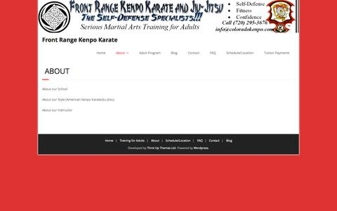 Screenshot of About Page coloradokenpo.com - About | Front Range Kenpo Karate - captured Sept. 25, 2015